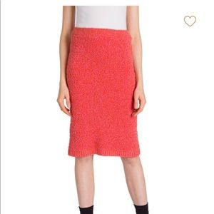 Prada Women's Pink Boucle Knit Pencil Skirt